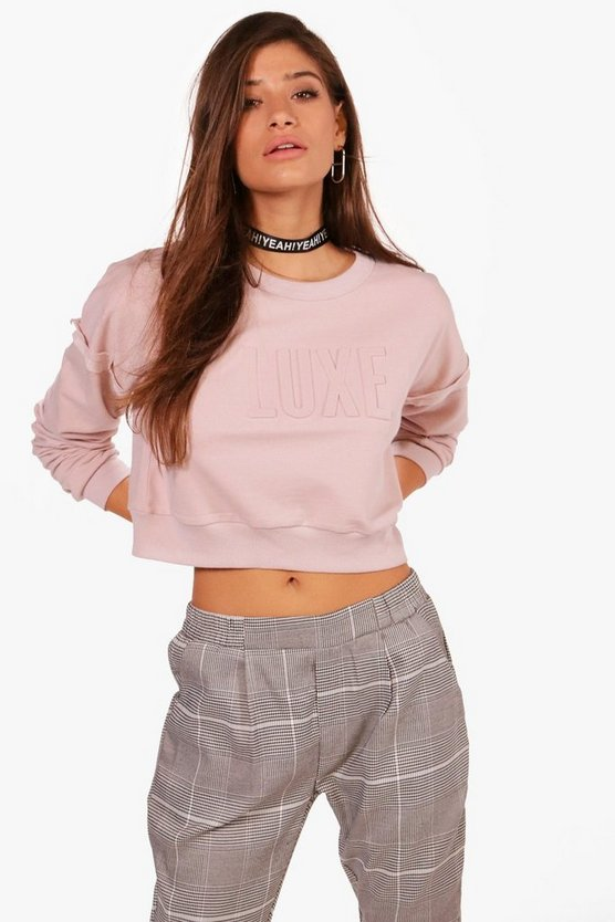 Charlie Luxe Raised Slogan Sweat