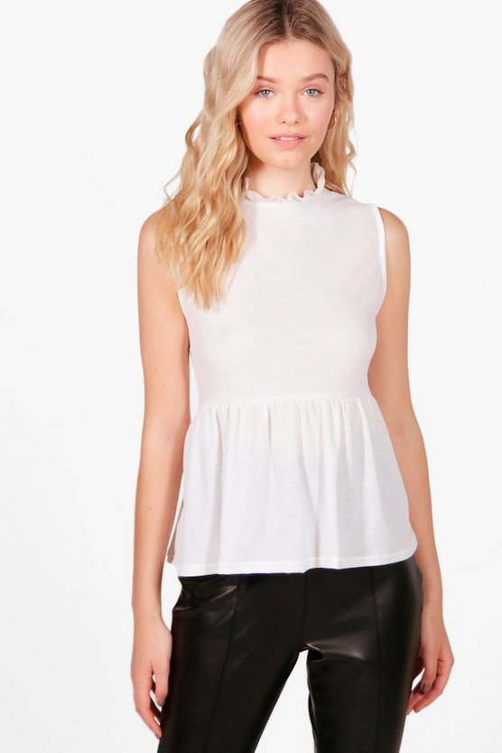 Jennie Sleeveless Ruffle Neck Shirt