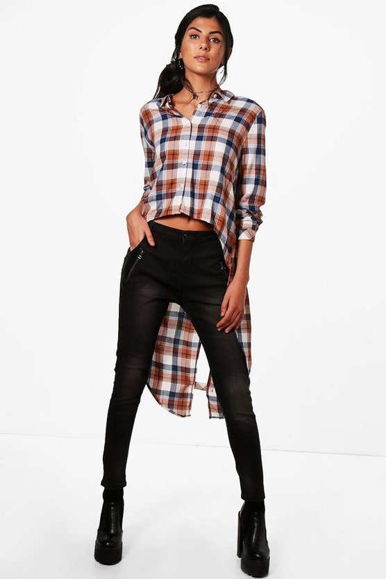 Hazel Check Dip Back Shirt