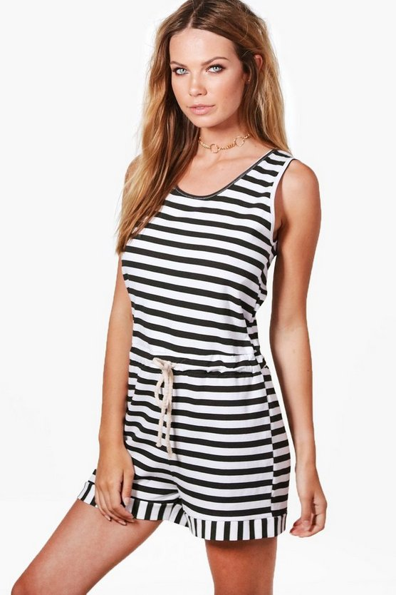 Amy Striped Rope Detail Playsuit