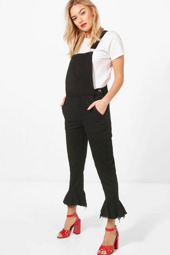 Cropped Ruffle Hem Denim Dungarees by Boohoo