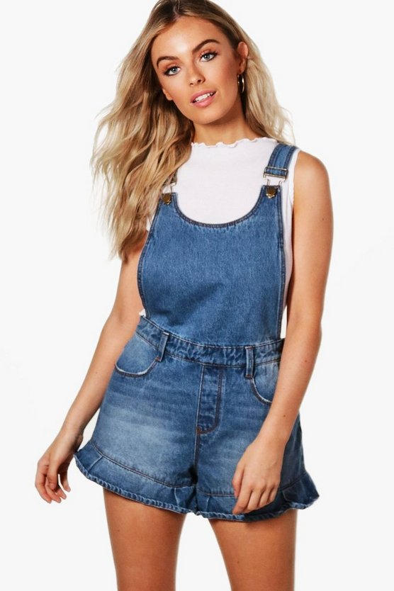 Wendy Ruffle Hem Denim Dungaree Shorts