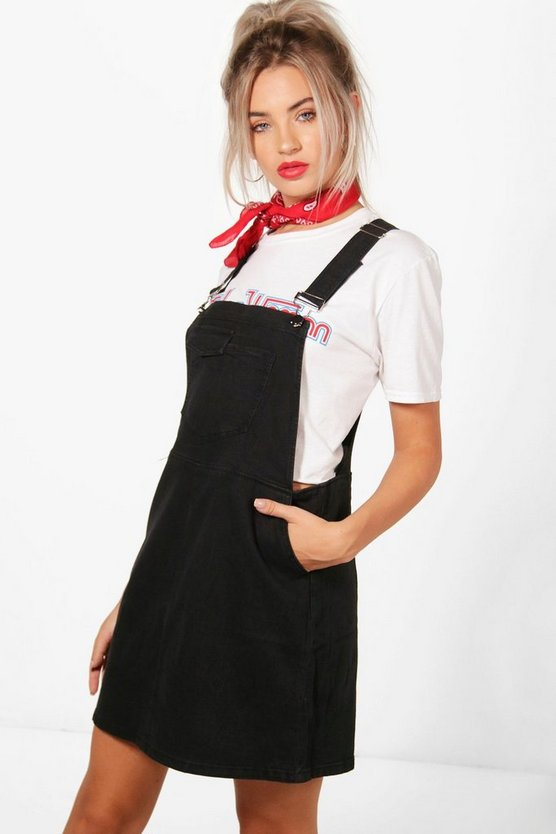 Peony Denim Pinafore Dress