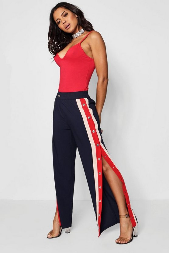Jenna Contrast Popper Panel Woven Trousers