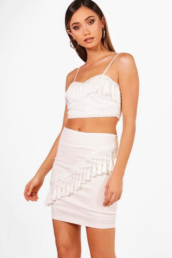 Imogen Tassle Front Mini Skirt