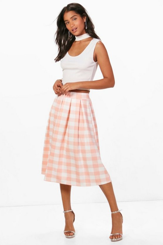 Lianne Large Gingham Box Pleat Skater Skirt