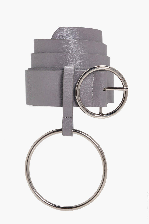 Circle Buckle Ring Detail Belt - grey - Yasmin Cir