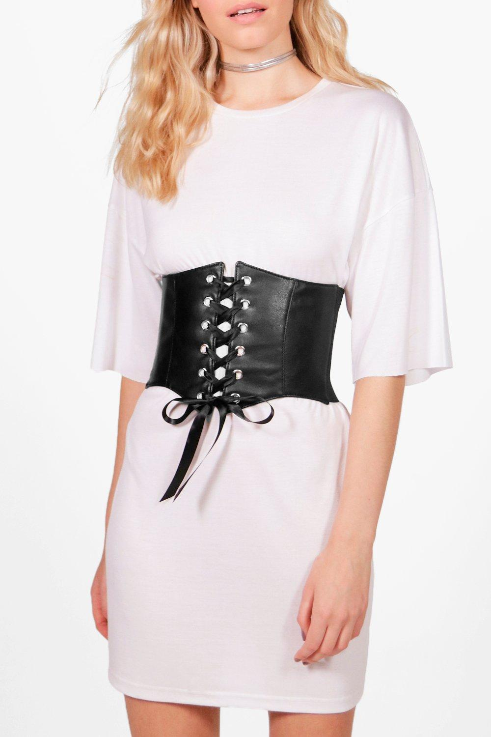 PU Lace Up Corset Belt - black - Kelsey PU Lace Up