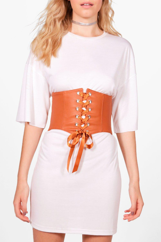 PU Lace Up Corset Belt - camel - Kelsey PU Lace Up