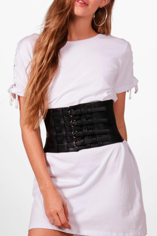 4 Buckle PU Corset Belt - black - Sophia 4 Buckle