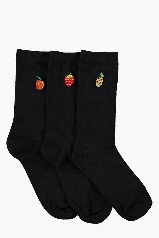 3-Pack Fruit Embroidered Cotton Rich Socks