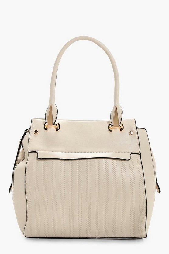 Holly Zip And Hardware Detail Textured Tote