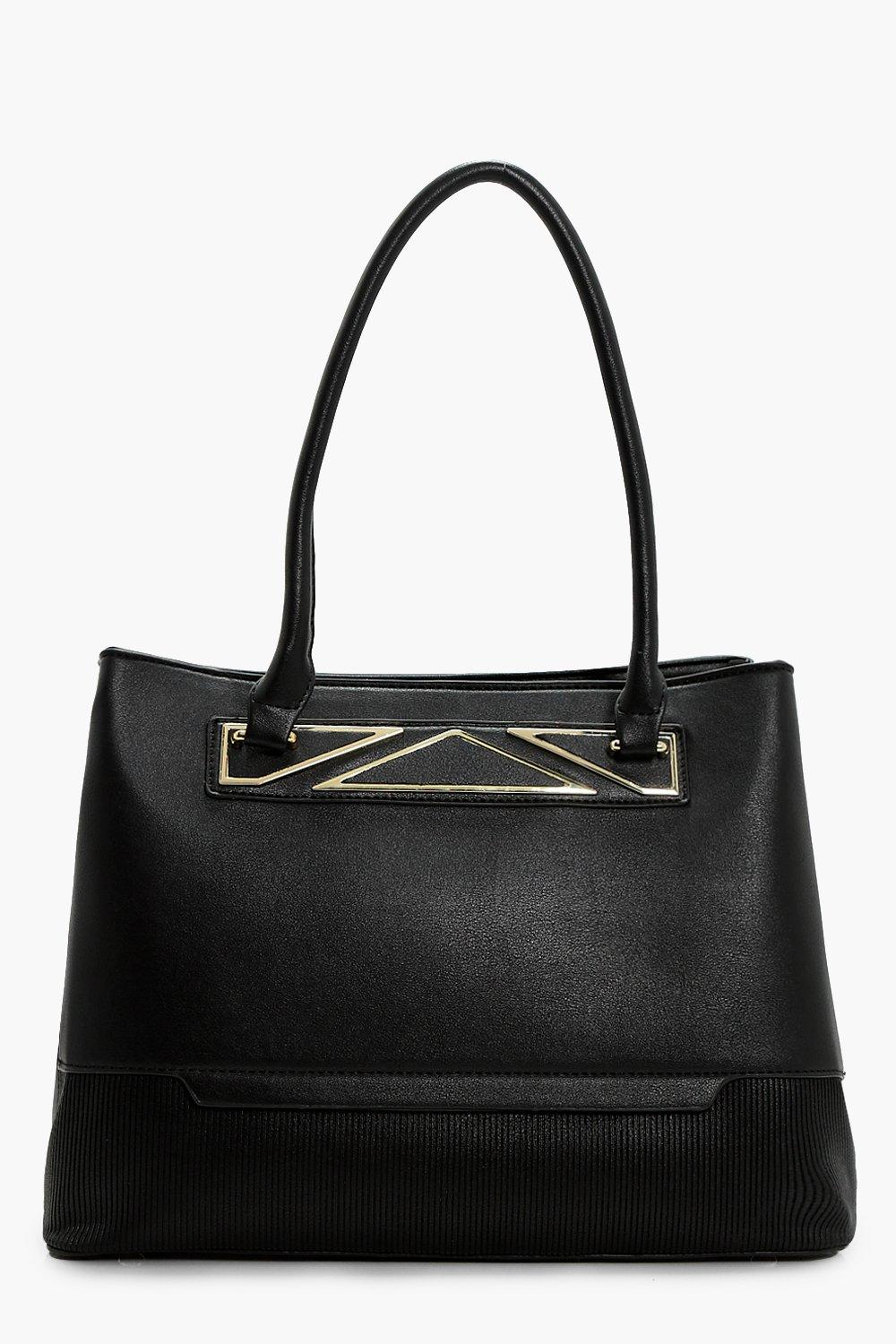 Metal Detail Tote Bag - black - Charlotte Metal De