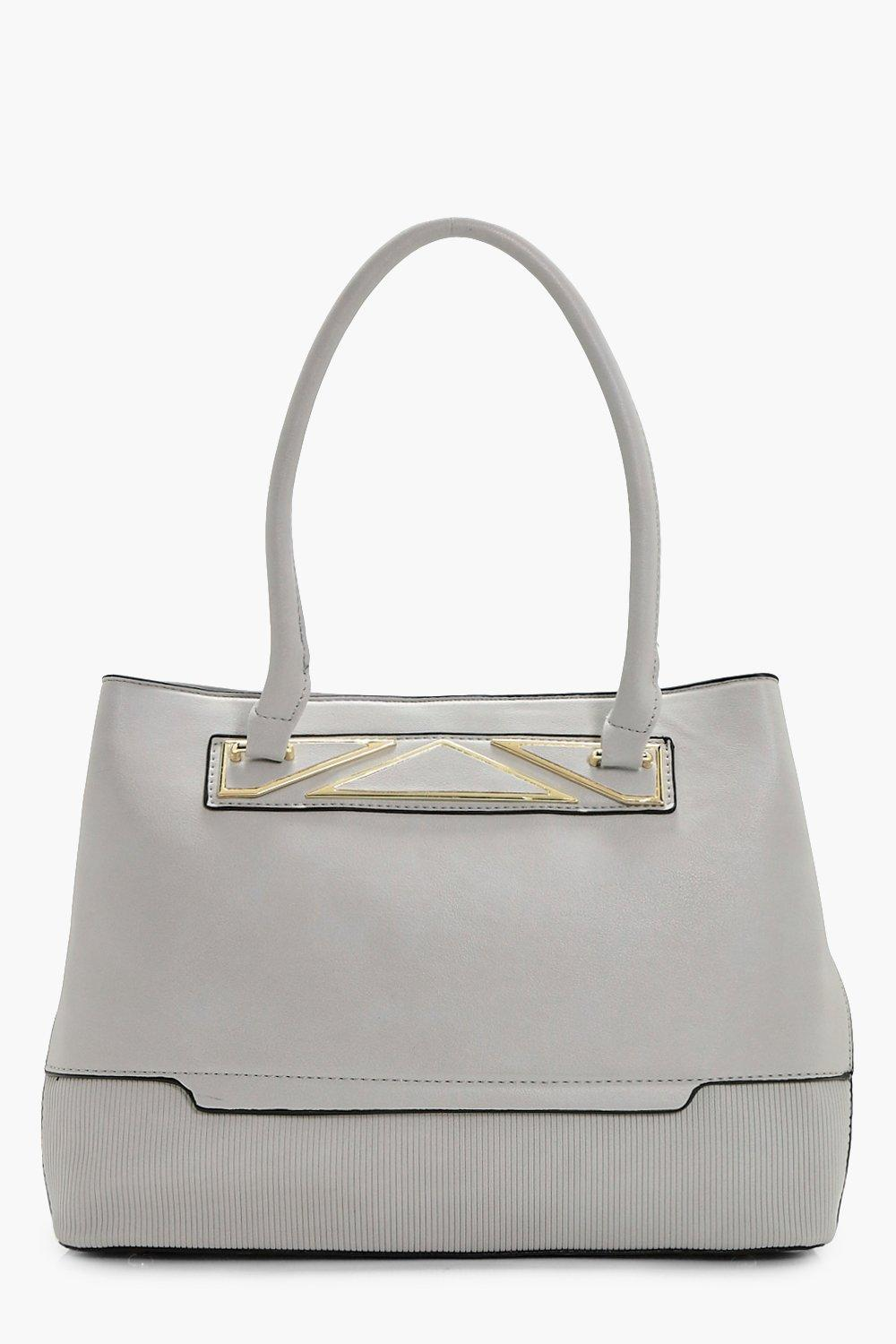 Metal Detail Tote Bag - grey - Charlotte Metal Det