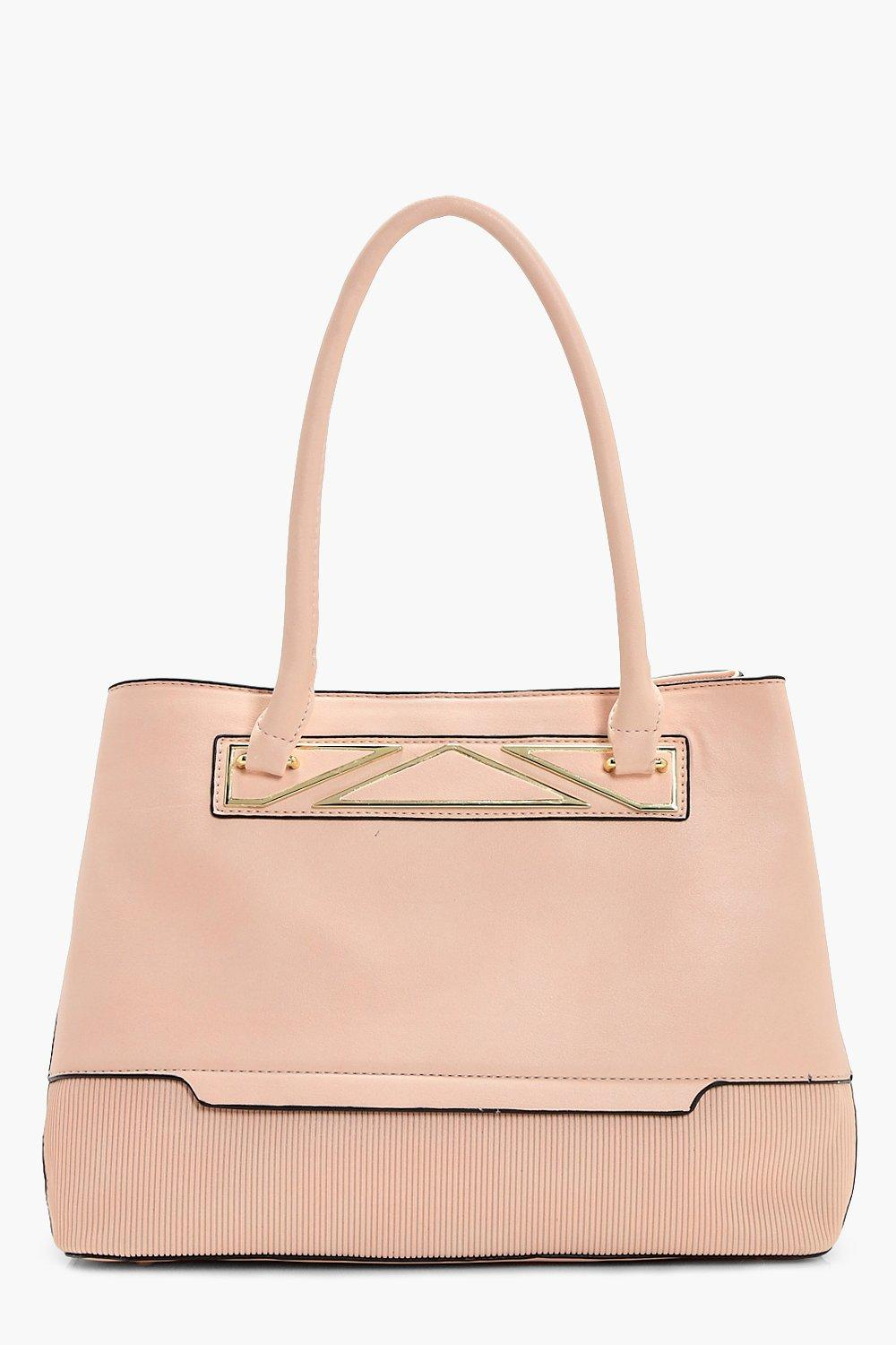 Metal Detail Tote Bag - pink - Charlotte Metal Det
