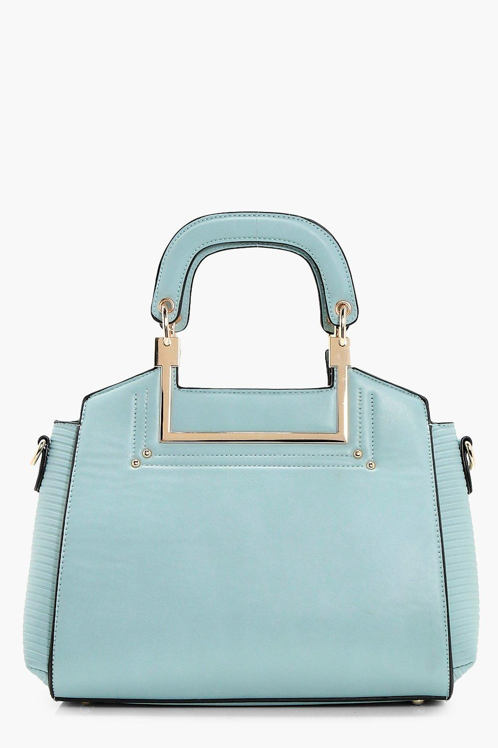 Hardware Handle Boxy Cross Body - blue - Faith Har