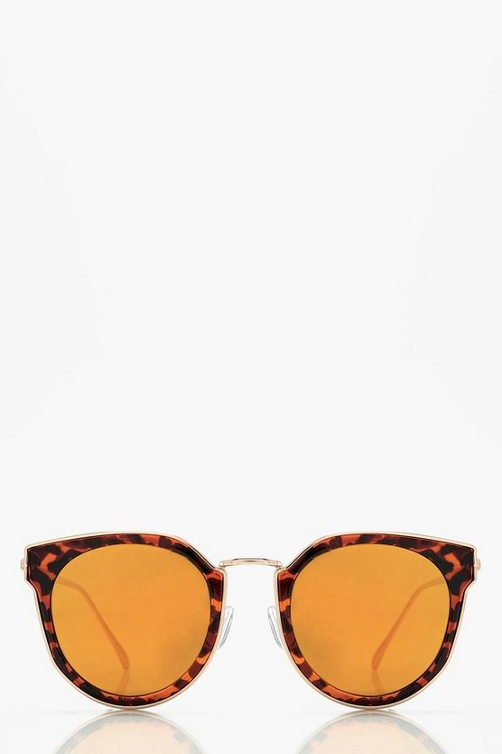 Ella Mirrored Lense Tortoiseshell Sunglasses