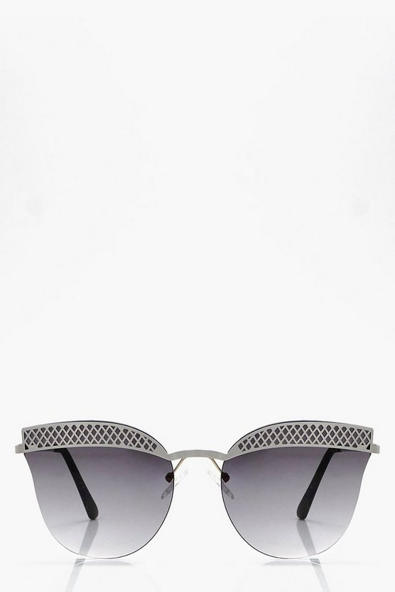 Lottie Crosshatch Brow Bar Frameless Sunglasses