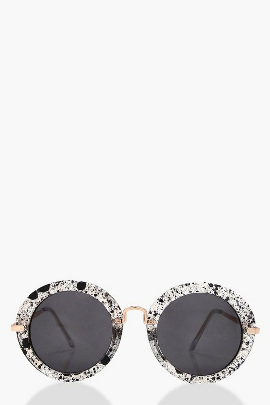 Holly Glitter Frame Round Sunglasses