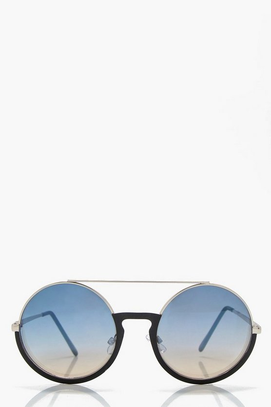 Isabelle Half Frame Brow Bar Round Sunglasses