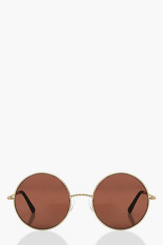 Layla Round Twisted Metal Sunglasses