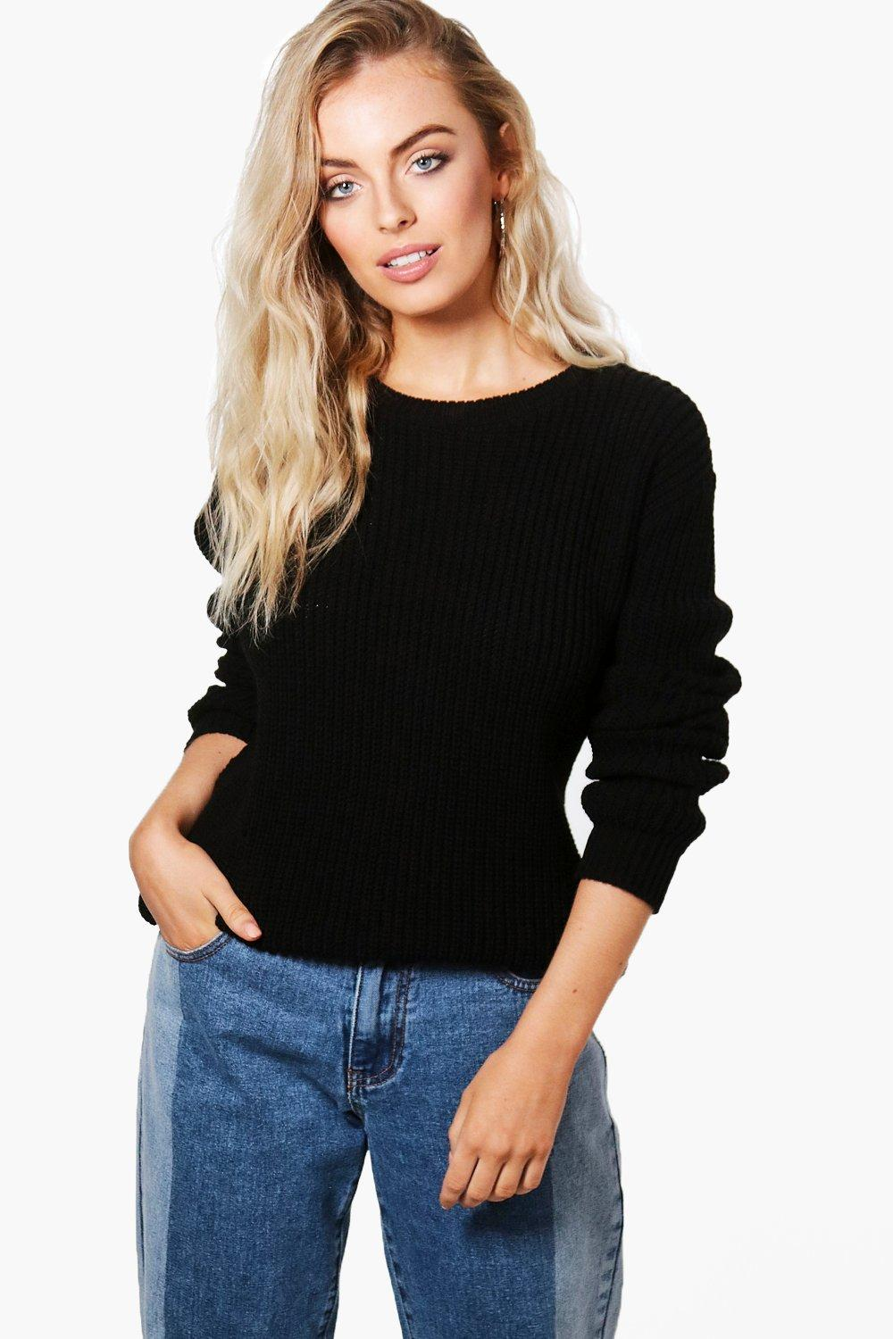 Click to view product details and reviews for Stitch Detail Fisherman Jumper Black.