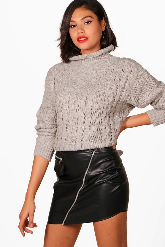 Georgia Funnel Neck Cable Knit Jumper