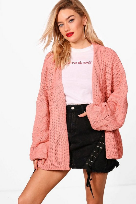 Erin Cable Sleeve Slouchy Cardigan