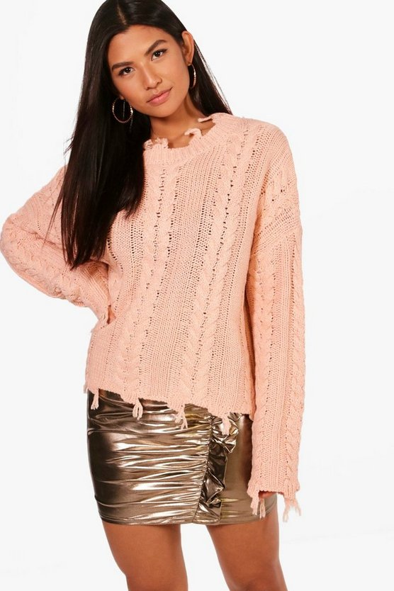 Joanna Distressed Crop Cable Jumper