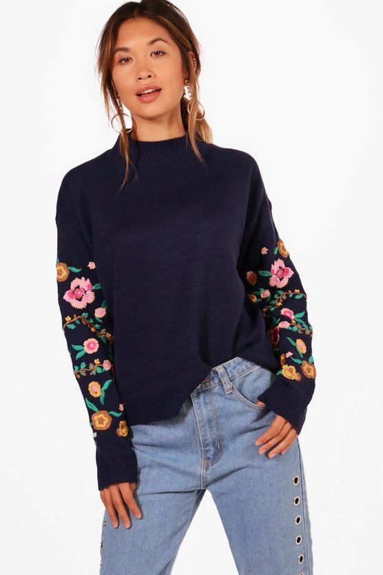 Grace Embroidered Sleeve Jumper