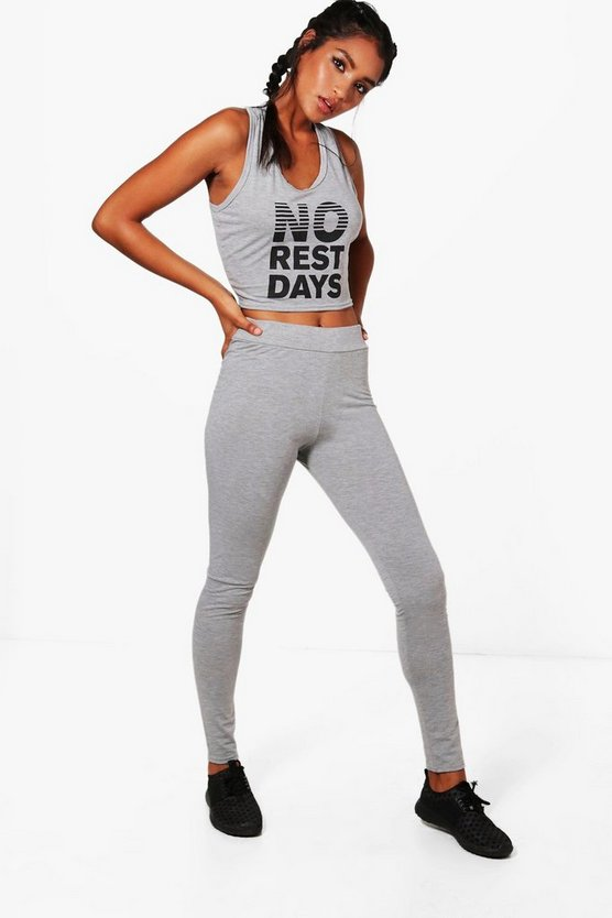 Rosie Fit No Rest Days Slogan Jersey Sports Set