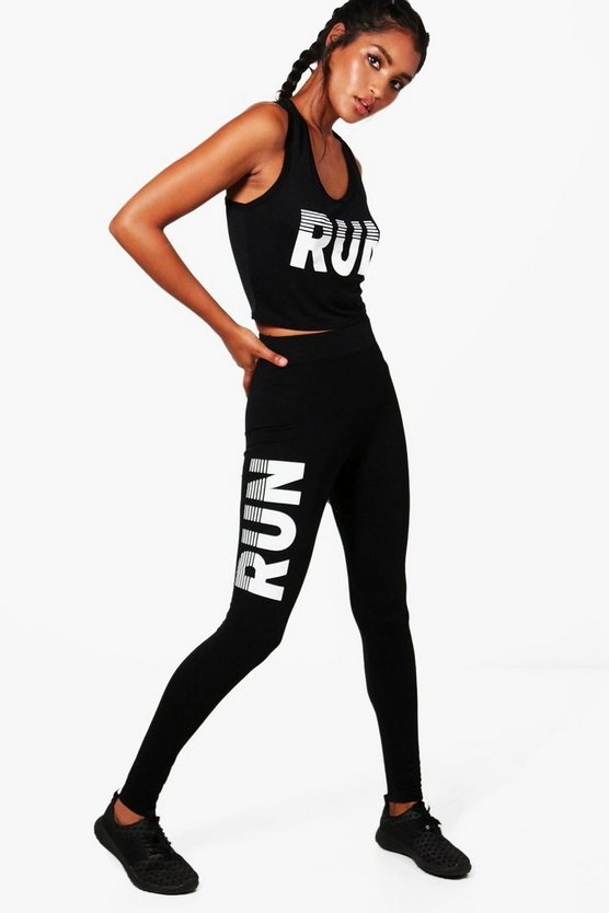 Amber Fit Run Slogan Sport Set