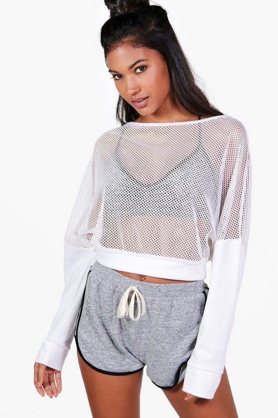 Hannah Slash Neck Mesh Running Sweat