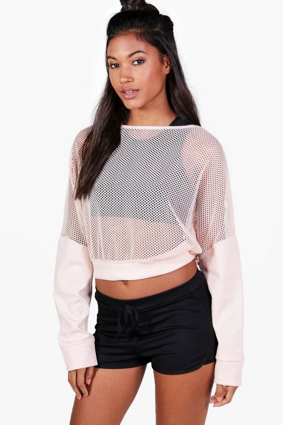 Lacey Fit Slash Neck Mesh Running Sweat