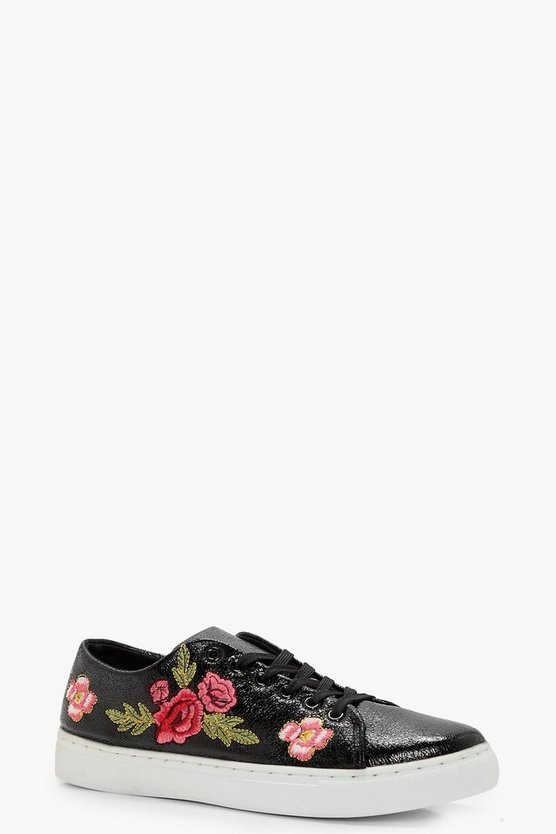 Lola Floral Embroidered Trainers