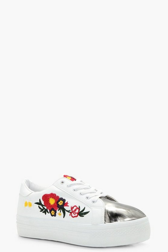 Amy Floral Embroidered Platform Trainer
