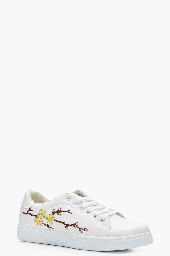 Ruby Floral Embroidered Trainer