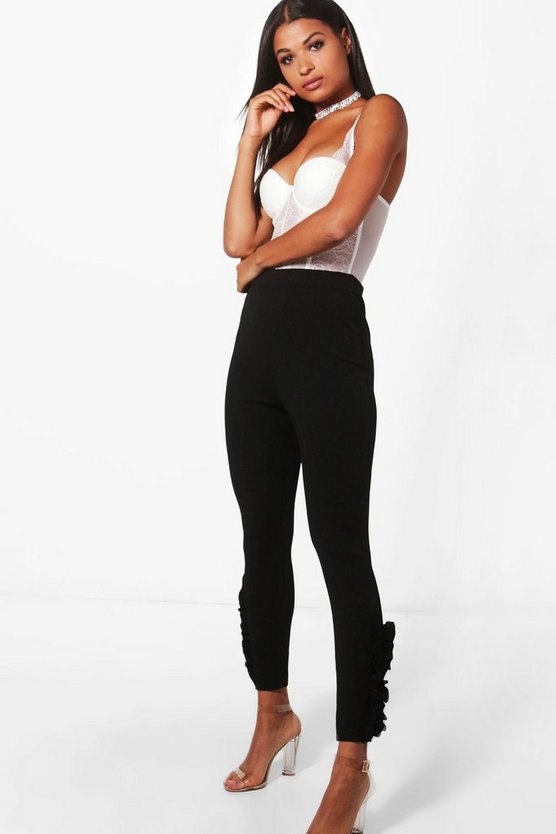 Camille Ruffle Side Slim Fit Crepe Trousers