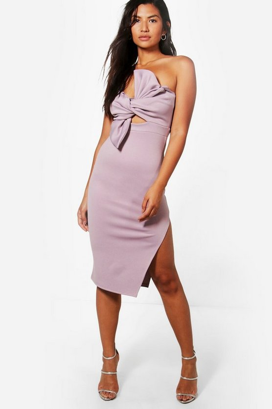 Scuba Bow Detail Bandeau Midi Dress