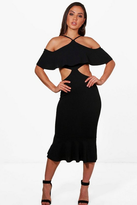 Ash Strappy Frill Detail Cut Out Midi Dress