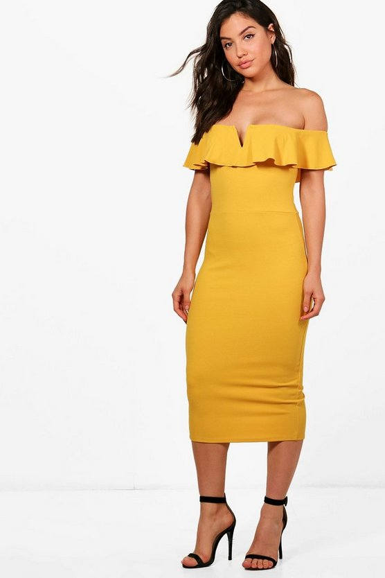 Ava Frill Off Shoulder Midi Dress