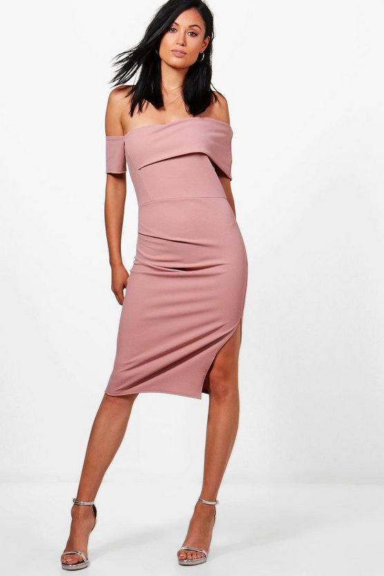 Cat Off Shoulder Ruched Midi Dress