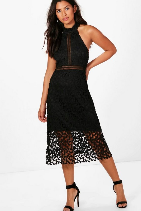 Boutique Em Lace Panelled Midi Skater Dress
