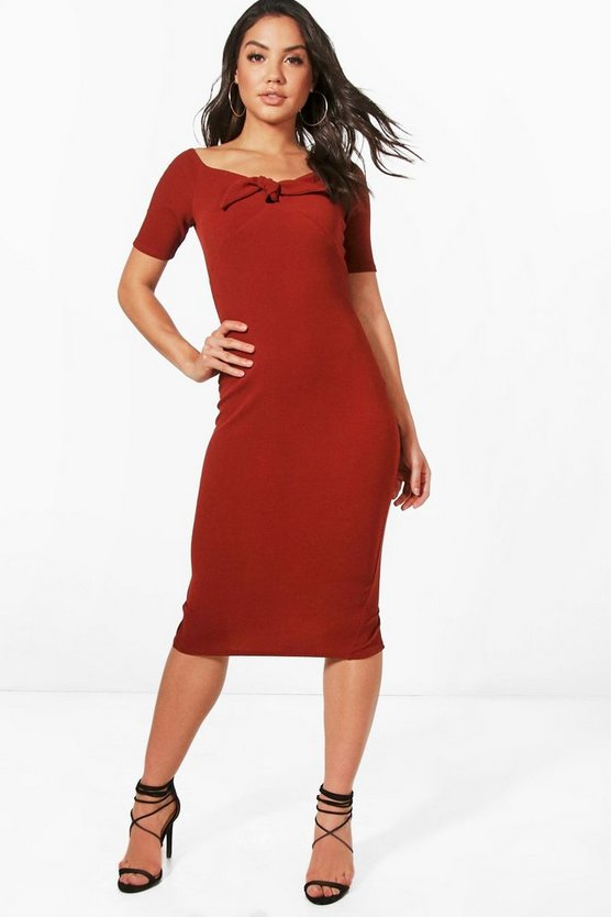 Off Shoulder Tie Front Midi Dress