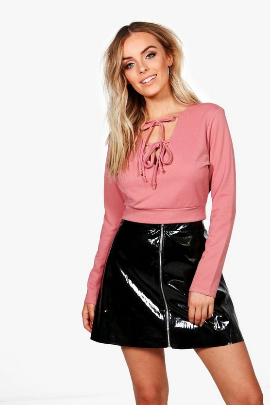 Heidi Tie Front Cut Out Long Sleeve Top