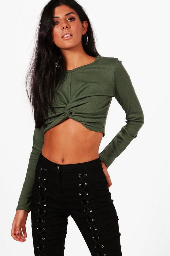 Mia Wrap Front Rib Long Sleeve Crop Top
