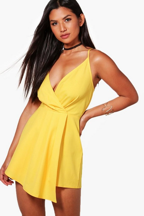 Bella Pleat Front Wrap Over Playsuit