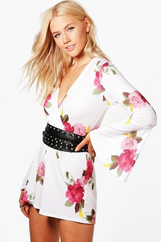 Bethany Floral Flare Sleeve Playsuit