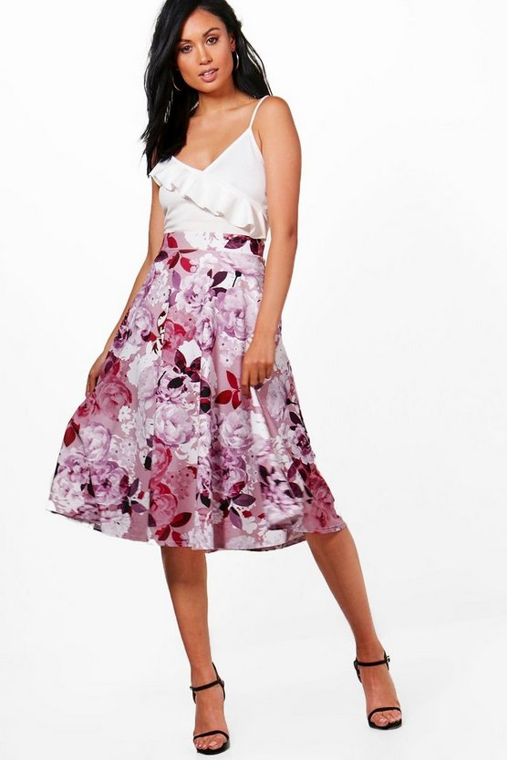 Klara Digital Floral Box Pleat Midi Skirt