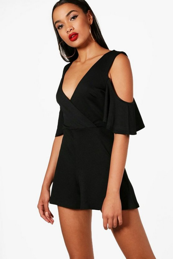 Open Shoulder Plunge Playsuit
